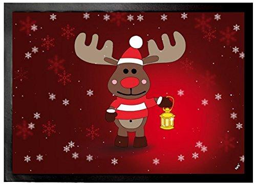 1art1 Navidad - Rodolfo El Reno Felpudo Alfombra (70 x 50cm)