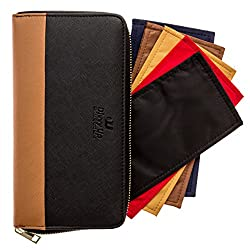 black and brown cash envelope wallet with dividers