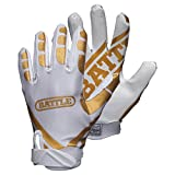 Battle Ultra-Stick Football Gloves  Ultra-Tack Sticky Palm Receivers Gloves  Pro-Style Receiver Gloves, Adult, Adult X-Large, Gold/White