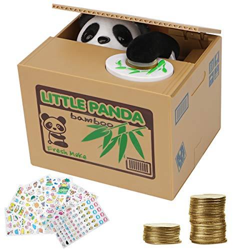 Herefun Elektronische Panda Sparbüchse, Sparbüchse für Kinder und Erwachsene, Elektronische Spardose Katze, Lustiges Sparschwein für Kleingeld, Ideal Zum Persönlichen Sparen