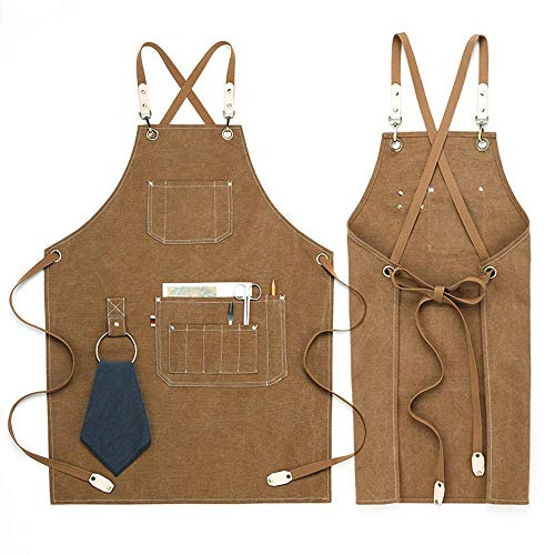 Chef Aprons, Kitchen Cooking grilling Apron,Cotton Canvas Apron For Women and Men,Cross Back Apron And Large Pockets,artist apron,Birthday Gift, Adjustable M to XXL,Brown