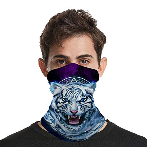 Outdoor Sport Face Mask. Bandana Neck Warmers Gaiters for Mens Womens Unisex, Dust-Free Face Scarf for UV Protection Hiking, Wild Tiger Roaring 3D Art Print Headband Beanie Cap