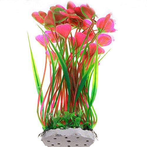 HuntGold 40 cm Aquarium Dekor PVC Simulation Fisch Tank Künstlich Unterwasser Gras Wasser Pflanze Rot