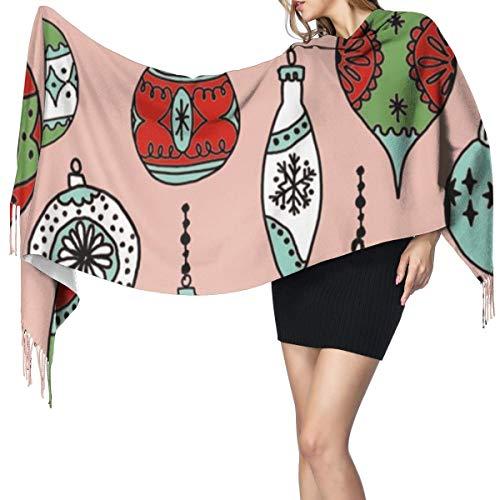 Liliylove Weihnachts-Ornamente, Weihnachtsdekoration, Weihnachtsschmuck, Vintage-Schal, super weich mit Quaste, modisch, warm, großer Wickelschal, Winter-Stola für Damen