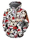 KIACIYA Sudadera Navidad Mujer, Ropa Navidad Unisex Hombre 3D Impresión Navidad Ropa Divertido Perro Impreso Jerseys Ropa Navideña Perro Sudadera con Capucha Casual Sweatshirt Suéter (XSF347,XXL)