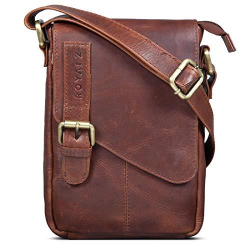 ROYALZ Leder Umhängetasche Klein für Männer Herren Ledertasche Mini Seitentasche Vintage Look Tasche zum Umhängen, Farbe:Roma Cognac Braun