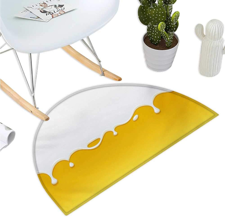 Yellow and White Half Round Door mats Dripping White Milk Cream Paint Yogurt on Yellow Honey Background Print Entry Door Mat H 35.4  xD 53.1  Yellow White