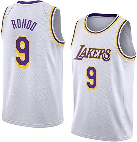ATI-HSKJ NBA Lakers Basketball Maglie, Rajon Rondo 9# Maglie Uomo di Pallacanestro Vestiti Cool Traspirante Swingman Maniche Canotta Abbigliamento,L