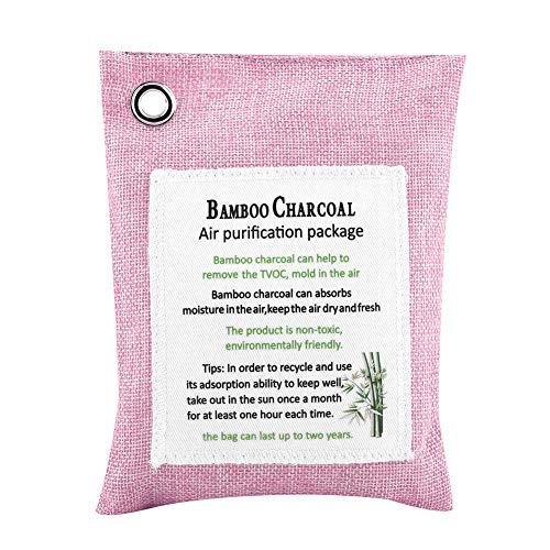 ZHHZ Bolsa de purificación de aire – Bolsa de purificación de aire activado carbón de bambú purificador de olor desodorante para coche, color rosa