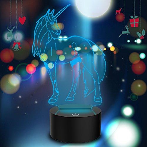 Lámpara 3D Illusion Led luz de la noche con 7 colores intermitentes & Interruptor tactil USB...