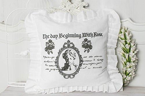 Roses weiß Kissenbezug mit Rüsche 45x45cm Leinenoptik shabby chic landhaus franske cottage