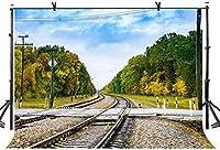 HD 7X5ft鉄道トラック背景美しい鉄道トラック自然風景写真の背景写真スタジオ写真背景小道具インテリア壁画LYGE933