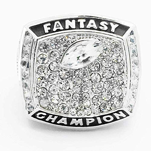 WANZIJING Fantasie Fußball Ring, 2017 Fantasy Football Champion Ringe Sports Fans Ring Collection for Boyfriend Geschenk Größe 8-14,Silber,11
