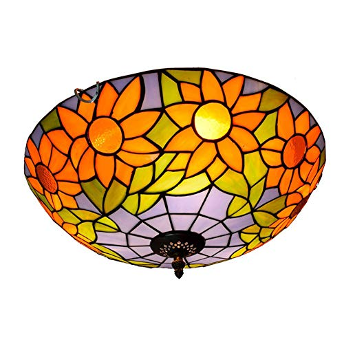GUOGEGE Tiffany plafondlamp, handgemaakte gekleurd glas zonnebloemen stijl plafond lamp Decor woonkamer slaapkamer balkon hal XT103