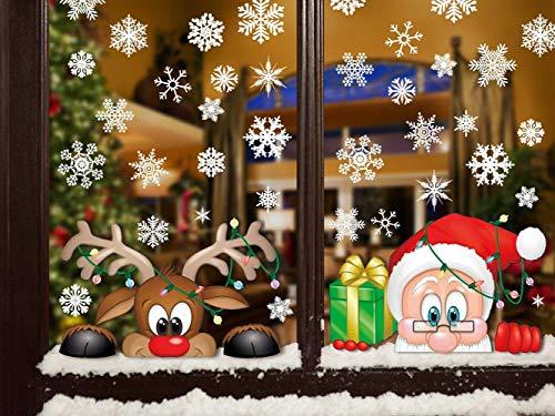 Likela Noël Autocollants Flocons de Neige Stickers Fenetre DIY Père Noël Mignonne Renne Autocollant de Verre Amovibles Réutilisable Statique Stickers Deco pour Home/Boutique