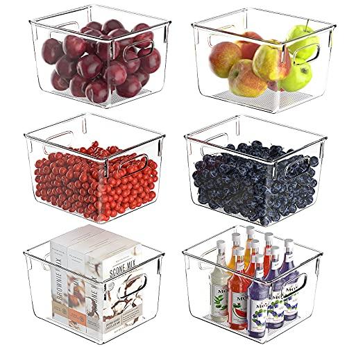 FINEW Juego de 6 organizadores para frigorífico, gran despensa, de alta calidad, transparente, caja organizadora para cocina, nevera, armarios, despensa, sin BPA