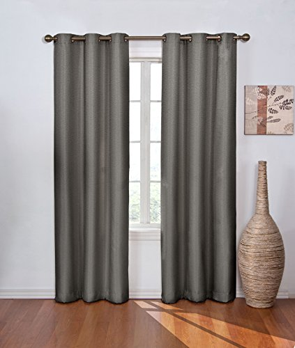 """ECLIPSE Madison Thermal Insulated Single Panel Grommet Top Darkening Curtains for Living Room, 42"""" x 84"""", Smoke"""