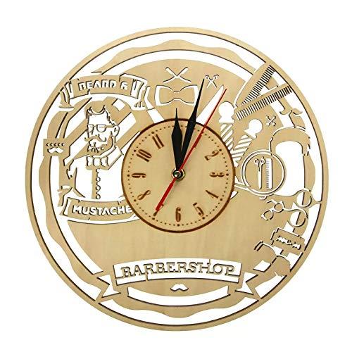 hufeng Reloj de Pared Vintage Barber Shop Reloj de Pared de Madera Salón de Belleza Arte de la Pared Decoración Reloj de Barrido silencioso Reloj Peluquería Regalo Afeitado Herramientas de barbero