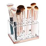 mDesign Práctico expositor de maquillaje – Decorativo organizador de cosméticos para máscara o labiales – Caja para guardar maquillaje con 15 compartimentos – transparente/dorado rojizo