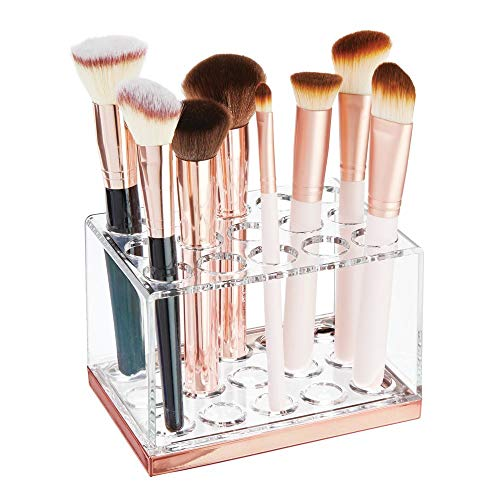 mDesign Plastic Makeup Brush Storage Organizer with 15 Slots for Bathroom Countertop, Vanity to Hold Eye/Lip Pencils, Lip Gloss, Liners, Lipstick - Clear/Rose Gold