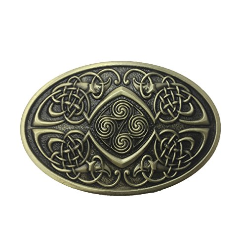 Lanxy Men's Irish Celtic Knots Bronze Vintage Oval Metal Belt Buckle, free
