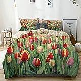 Juego de funda nórdica beige, ilustración abstracta de flores, margaritas y verdes, estilo de pintura, juego de cama decorativo de 3 piezas con 2 fundas de almohada, fácil cuidado, antialérgico, suave