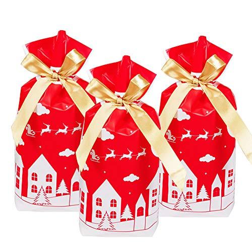 Weihnachten Geschenkbeutel mit Kordelzug,50 stücke Urlaub Rot Rentier Weihnachtsgeschenk Geschenk Paket Süßigkeiten Süße Tasche Kunststoff Weihnachten Goody Bags für Hochzeitstag Frohe Weihnachten (A)