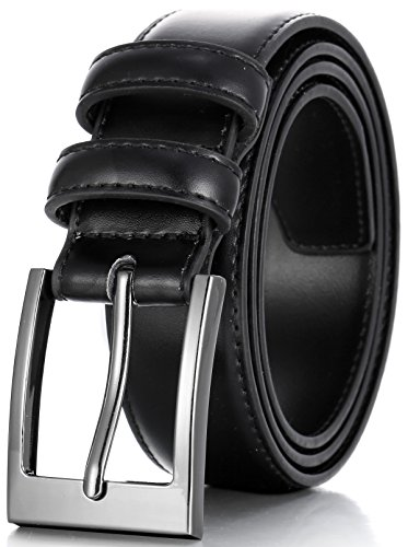 Marino's Men Genuine Leather Dress Belt with Single Prong Buckle - Black - 34