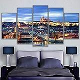 RoYderWick Pinturas modulares en Lienzo, decoración del hogar, Arte de Pared sin Marco, 5 Piezas con Vistas al Paisaje de Praga, Cuadros de Sala de Estar, póster de Castillo