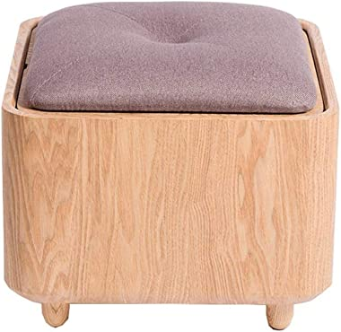 Ottoman Foot Stool, Simple Home Creative Shoe Bench Solid Wood Stool Living Room Fabric Stool Fashion Creative Dressing Stool