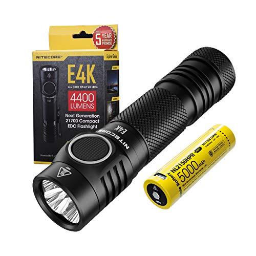 Nitecore E4K LED Taschenlampe Aufladbar 4400 Lumen – Hochleistungs Ultrakompakte Taschenlampe IP68 Wasserdicht ([ mit USB-C Akku ])