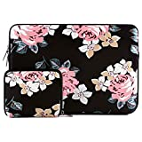 MOSISO Water Repellent Neoprene Sleeve Bag Cover Compatible with 13-13.3 inch Laptop with Small Case, Black Rose