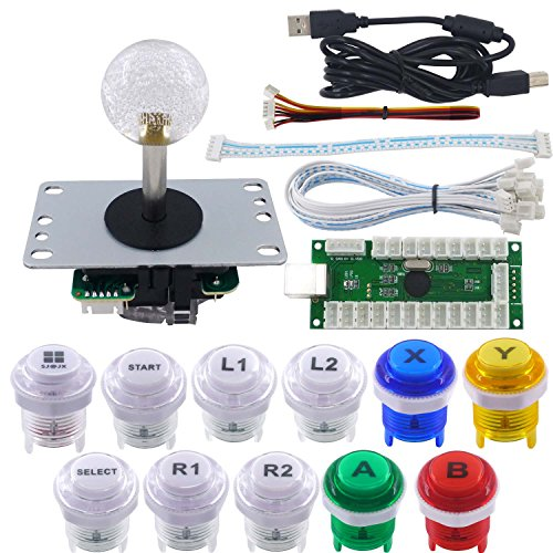 SJ@JX Arcade Game LED DIY Kit Mechanical Keyboard Switch LED Button PC MAME Retropie Arcade Joystick Controller Zero Delay USB Encoder