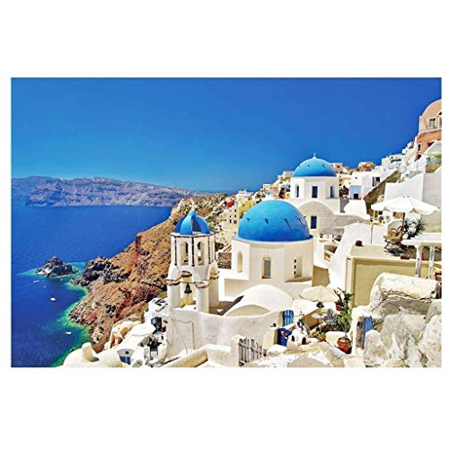 SWNN puzzles Jigsaw Puzzles For Adults 1000 Pieces Entertainment Toys Large Wooden Puzzles For Kids Dreamy Greece Santorini Landscape DIY Mural Painting