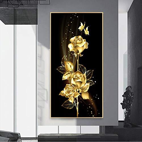 Arte moderno elegante Lotus lienzo pintura pared imágenes artísticas para sala de estar decoración del hogar diseño de pared Modular 70X140cm marco