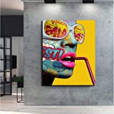 Cool Graffiti Girl Poster Modern Lady Portrait Wall Art Graphic Wall decoración del hogar,Pintura sin Marco,40X60cm