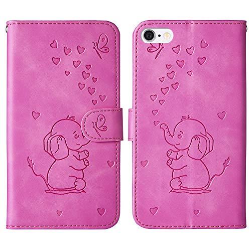 Tiyoo Custodia Cover a Libro per iPhone 6 Plus/6s Plus,Elefante di Cartone Animato e Motivo a Farfalla a Forma di Cuore in Rilievo, Custodia a Portafoglio in Pelle PU (Purplish)