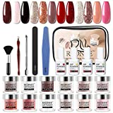 REDNEE Dip Powder 12 Colors Nail Starter Kit with Base Activator and Top Coat 22pcs Gift Set for Nail Art - RE08 Inviting Color