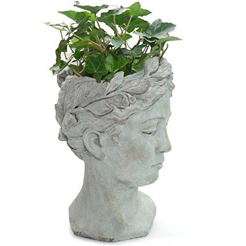 Vaso per Piante a Forma di Testa di Donna Colore: Grigio EXNER Valo Stile Vintage in Ceramica
