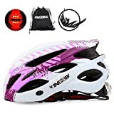 KINGBIKE Bicycle Helmet Bike Cycling Helmets Road MTB Specialized Adult Helmts for Mountain Men Women Girls Ladies with Safetly Light and Portable Bag (Purple&White, M/L(54-59CM))