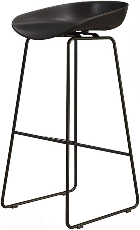LJFYXZ Bar Stool Black Iron Art Bar Furniture bar Chair PP seat Modern Simplicity Kitchen Chair Bearing Weight 150kg High 45 65 75cm (Size   75CM)