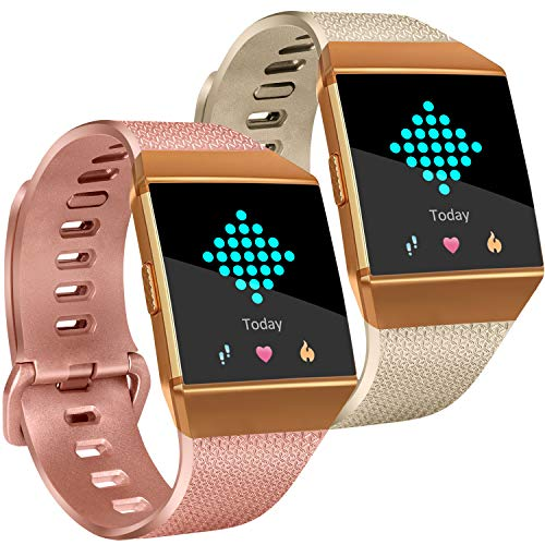 Tobfit Compatible with Fitbit Ionic Bands, Soft TPU Sport Arm Wristband Accessories for Women Men, Large, Champagne Gold, Rose Gold