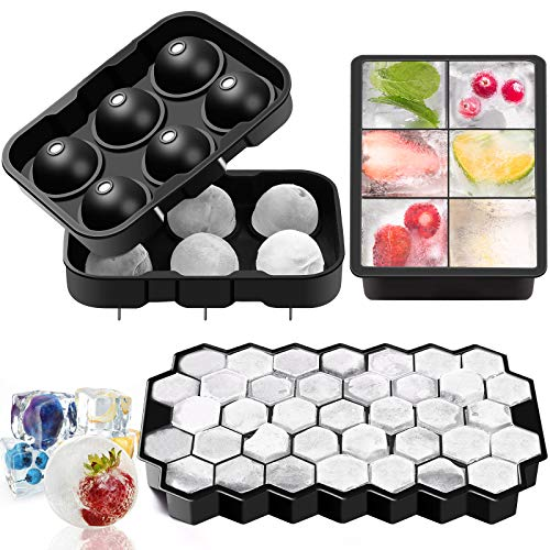 Juego de 3 moldes para bolas de hielo, 1 cuadrado y 1 panal de abeja, de silicona, bandeja para cubitos de hielo, para cócteles, whisky, alimentos para bebés, zumos, chocolates, dulces, etc.