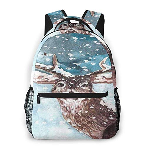 Lawenp Ciervos Invierno Nieve Navidad Mochila Informal para la Escuela Viaje al Aire Libre Bolso Grande de Moda para Estudiantes