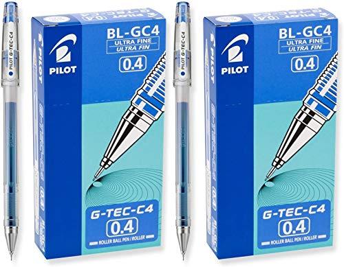 PILOT G-Tec-C - Bolígrafos de tinta de gel, punta ultra fina (0,4 mm), tinta azul, (2 unidades, 12 unidades)