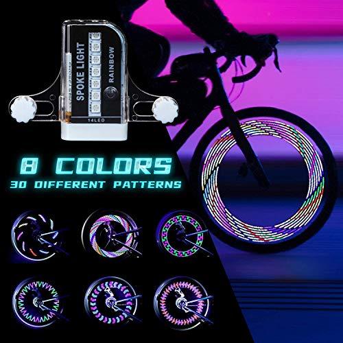 LED Fahrrad Rad Lichter, Ultra Helle Fahrrad Sprach Lichter, Sicherheit Bike Reifen Lichter Fahrrad Zubehör für Kinder und Erwachsene Bikes, Wasserdicht Bunte Fahrrad Rad Lichter (1 Pack)
