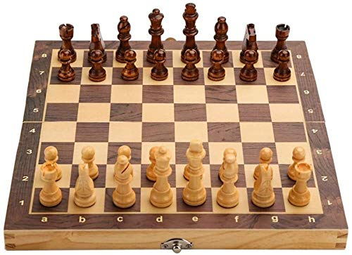 Chess Juego de Ajedrez Juego de ajedrez Plegable de ajedrez Juego Juego de Mesa de Madera Ajedrez magnético Hecho a Mano para ajedrez de ajedrez Juegos de ajedrez LQHZWYC (Size : 29cm)