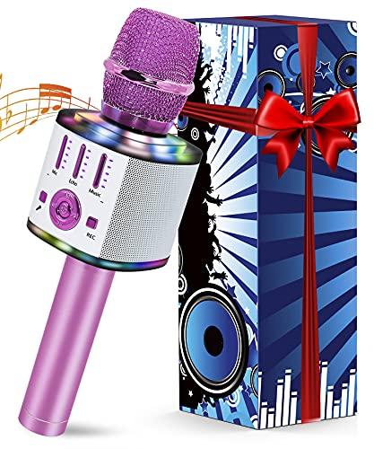 Micrófono Karaoke 5 en 1 Bluetooth Micrófono Niños con luces LED multicolor para cantar, Wireless Portátil Karaoke Player con Altavoz para Android/iOS, PC y Smartphone (Violeta)