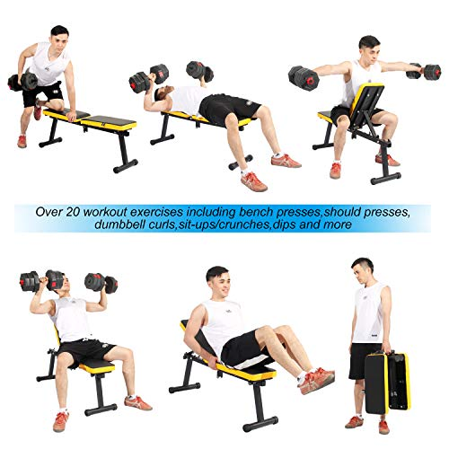 SogesPower Folding Dumbbell Bench Height Adjustable Incline Exercise Bench 330 lbs Weight Capacity, Multi-Functional Home Gym Strength Training Fitness Workout Station