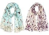 heekpek Pañuelo de Seda Mujer Elegante Bufanda Moda Chals Señoras Elegante Estolas Fular Manton Estampado de Mujer (B+C)